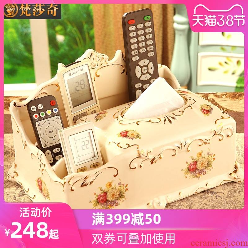 The American light colored enamel tissue boxes creative key-2 luxury home sitting room tea table smoke box ceramic table receive furnishing articles