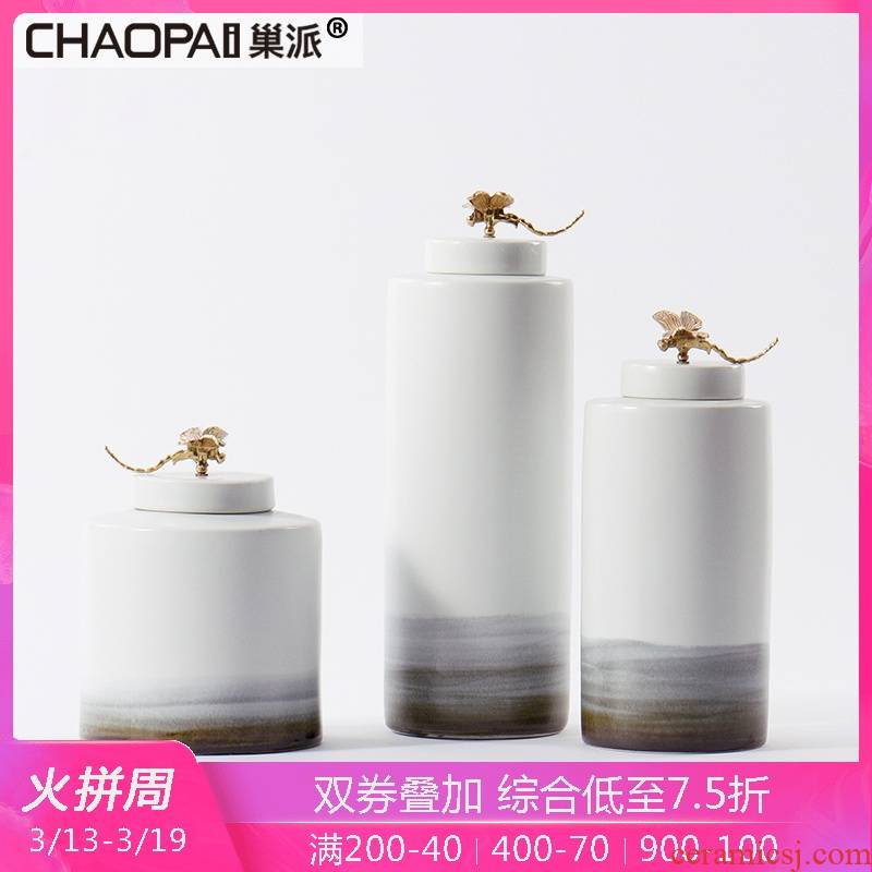 New Chinese style is contracted dragonfly cover handle ceramic storage tank furnishing articles creative household indoor hallway porch soft outfit decoration