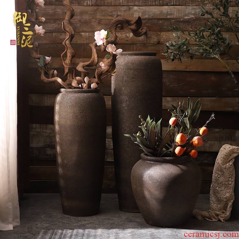Jingdezhen ceramic large vase flower arranging furnishing articles I and contracted sitting room ground manually restoring ancient ways clay pot