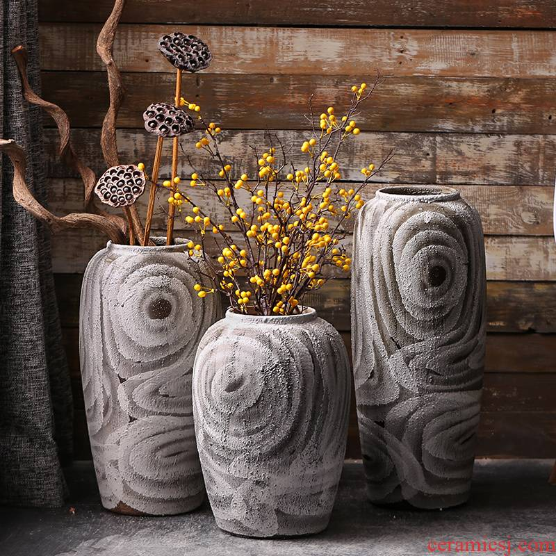 Dried flower vase furnishing articles sitting room flower arranging coarse pottery contracted and I ceramic Nordic ins vase retro white vase