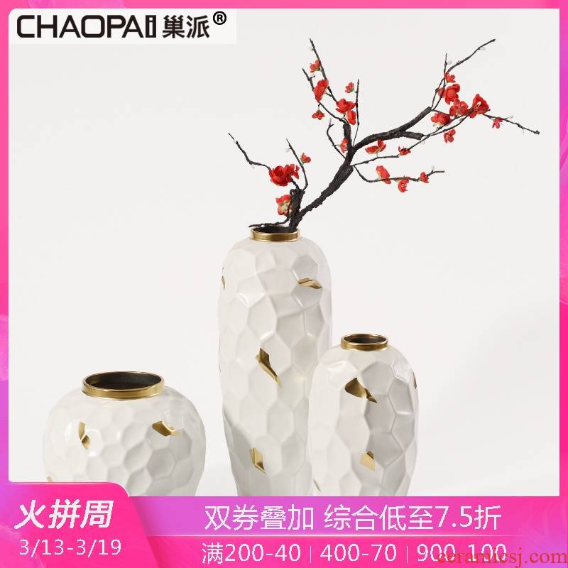 European contracted white honeycomb ceramic vase furnishing articles of modern home living room TV cabinet porch household flower arrangement