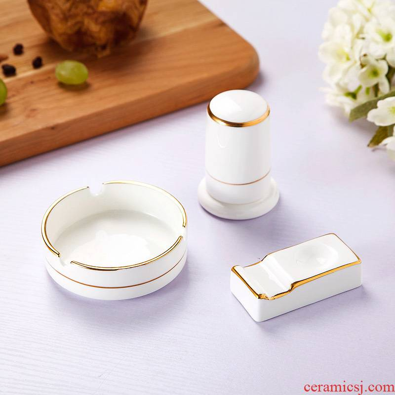 Jingdezhen suit hand paint hotel table ashtray toothpicks extinguishers chopsticks