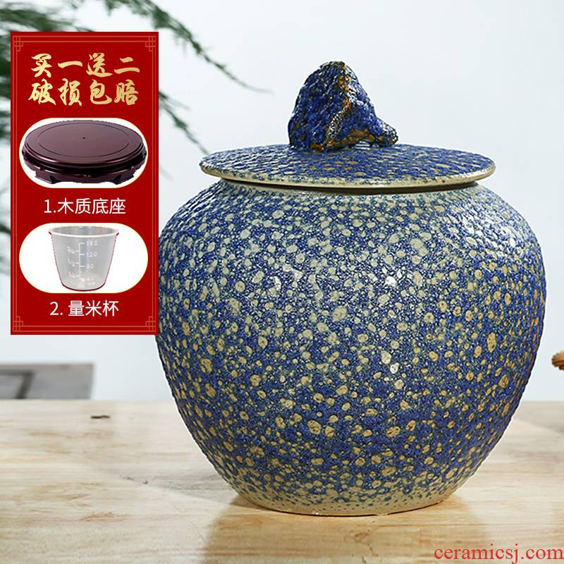 Jingdezhen household moistureproof insect - resistant seal type ceramic barrel ricer box with cover storage tank 20/30 kg of flour