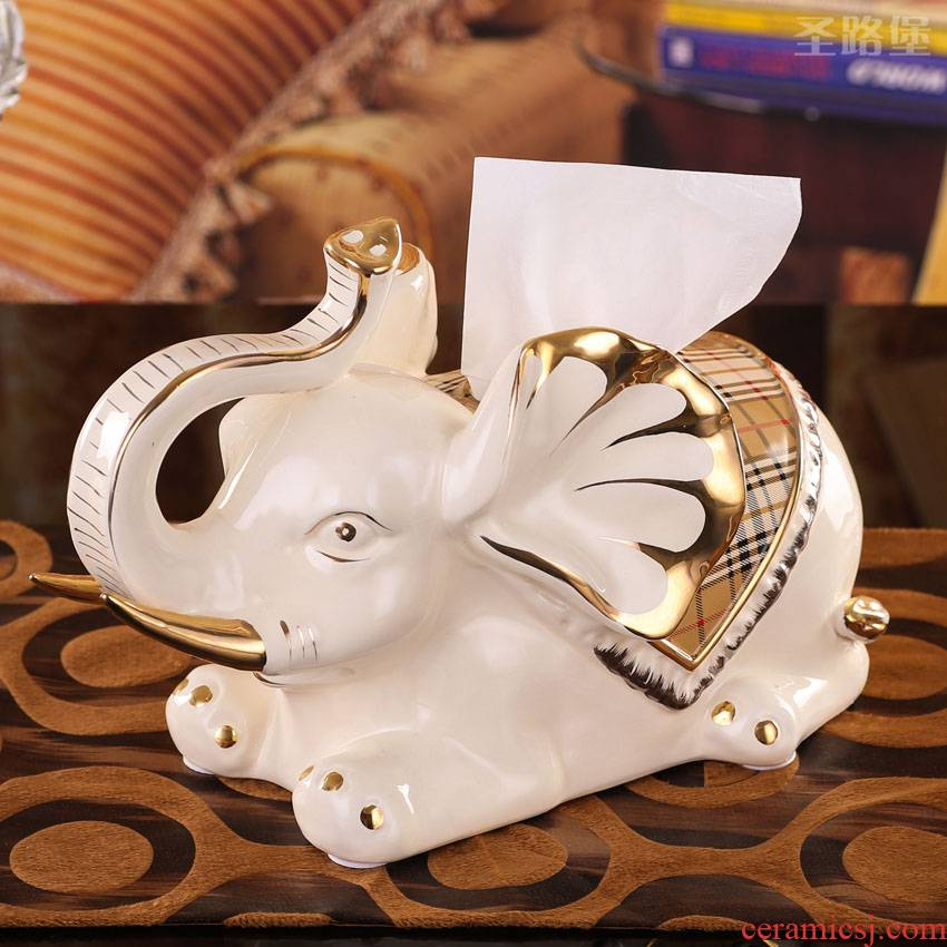 Fort SAN road ideas European ceramic decorative paper towel box sitting room elephant cartons furnishing articles gift package mail