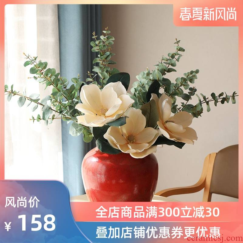 Ins wind vase Nordic red ceramic vase simulation flower suit sitting room flower arranging European - style place small and pure and fresh