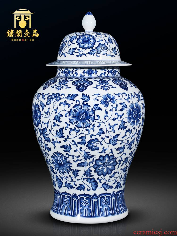 Jingdezhen ceramics antique blue - and - white bound lotus flower general large jar of new Chinese style home sitting room adornment is placed