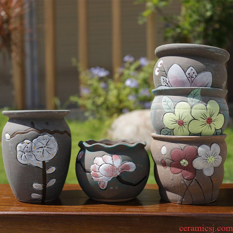 Fleshy flower POTS, large diameter Korean plain color meat meat plant POTS of rural wind hand - made contracted through pockets pottery flowerpot