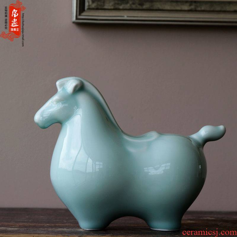 Jingdezhen shadow blue horse sitting room ceramics handicraft feng shui prosperous wealth furnishing articles version into the gift horse decoration