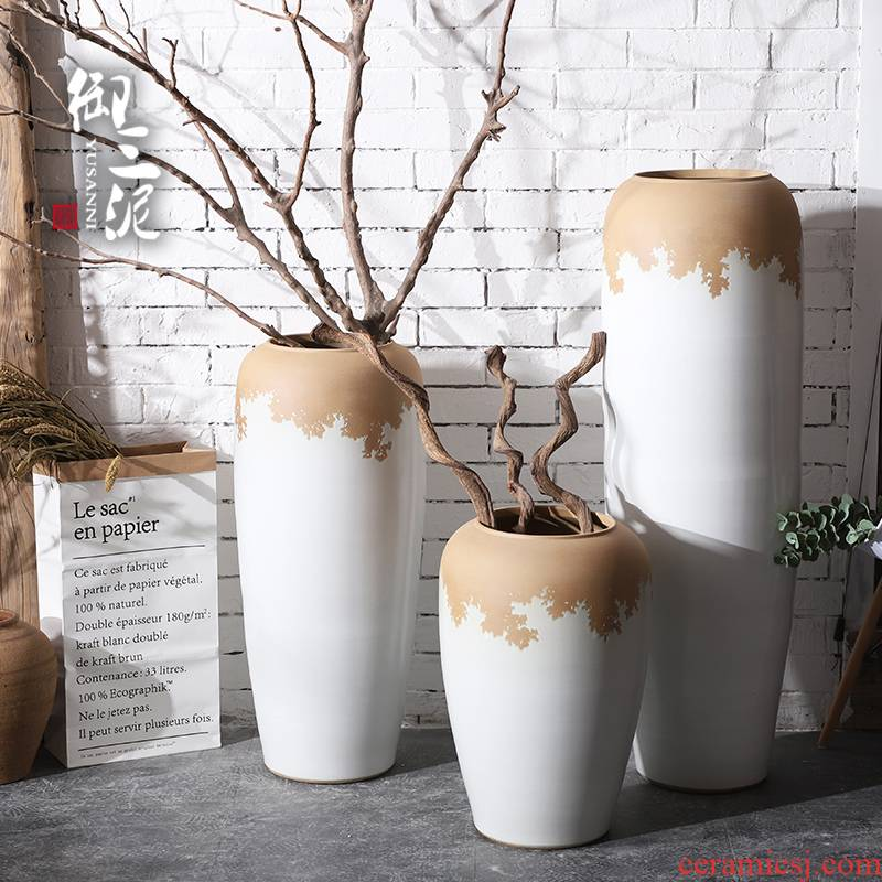 Dried flower adornment furnishing articles furnishing articles Nordic creative home sitting room flower arranging white modern pottery contracted landing window