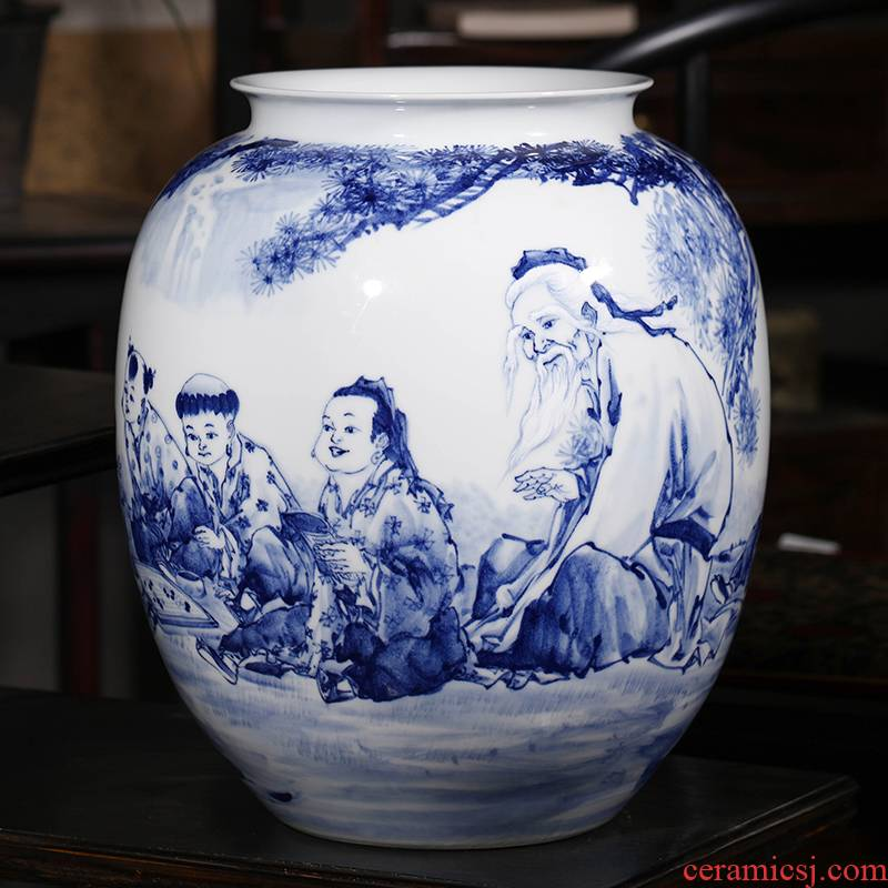 Jingdezhen ceramics outnumbered hand - made of blue and white porcelain vase household of Chinese style of the sitting room porch place gifts