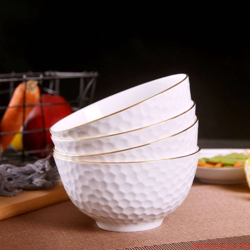 Jingdezhen ceramic checking gold 】 【 relief mercifully rainbow such as bowl with rice bowls bowl students large - sized ceramic bowl