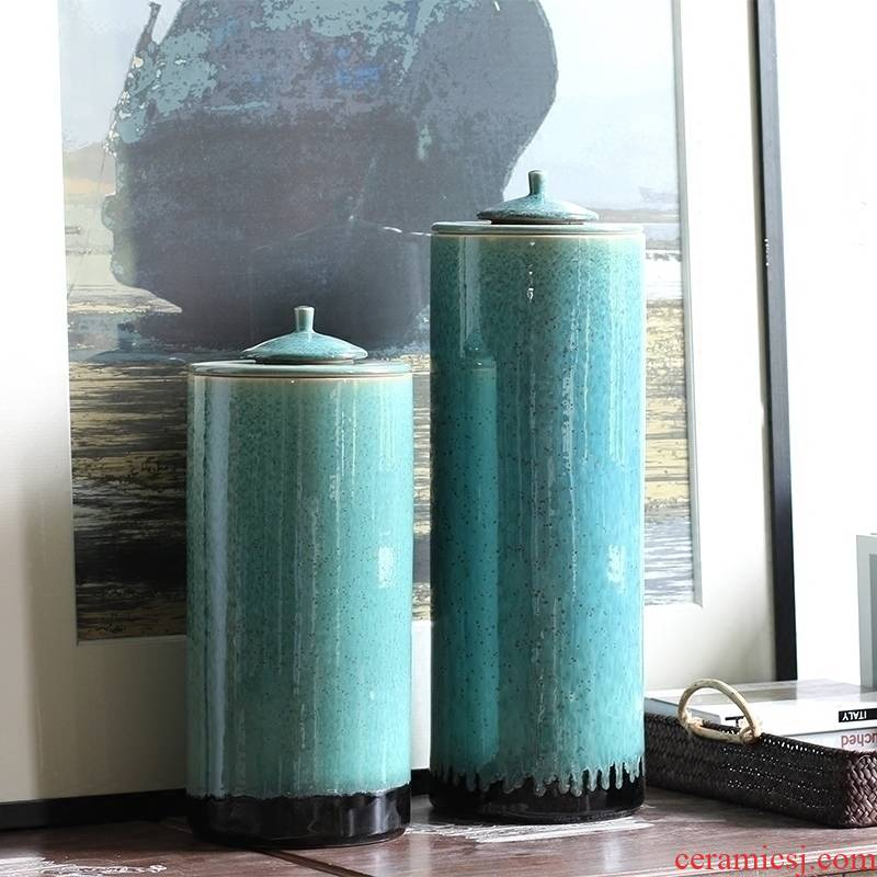 New Chinese style club restaurant desktop furnishing articles emerald green cylindrical vases, flower implement jingdezhen ceramic glaze porcelain ornaments
