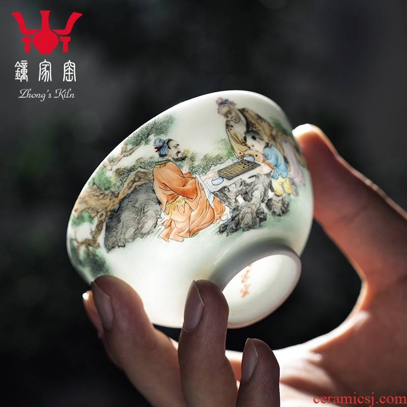 Kung fu tea master clock home up sample tea cup cup single CPU hand - made pastel characters individual cup of jingdezhen tea service