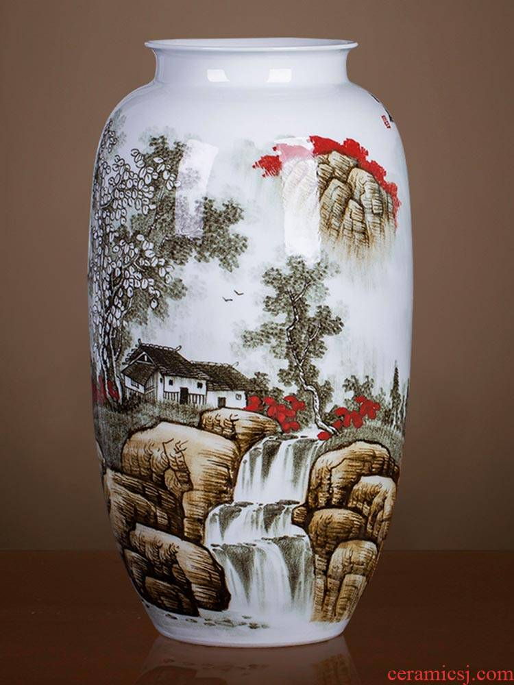 Jingdezhen ceramics large hand draw large vases, flower arrangement Angle of Chinese style household adornment what sitting room floor furnishing articles