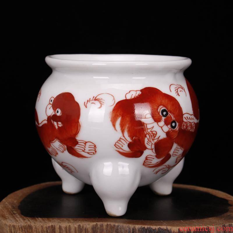 Jingdezhen imitation word pure checking antique antique hand - made pastel lion censer fine antique furnishing articles