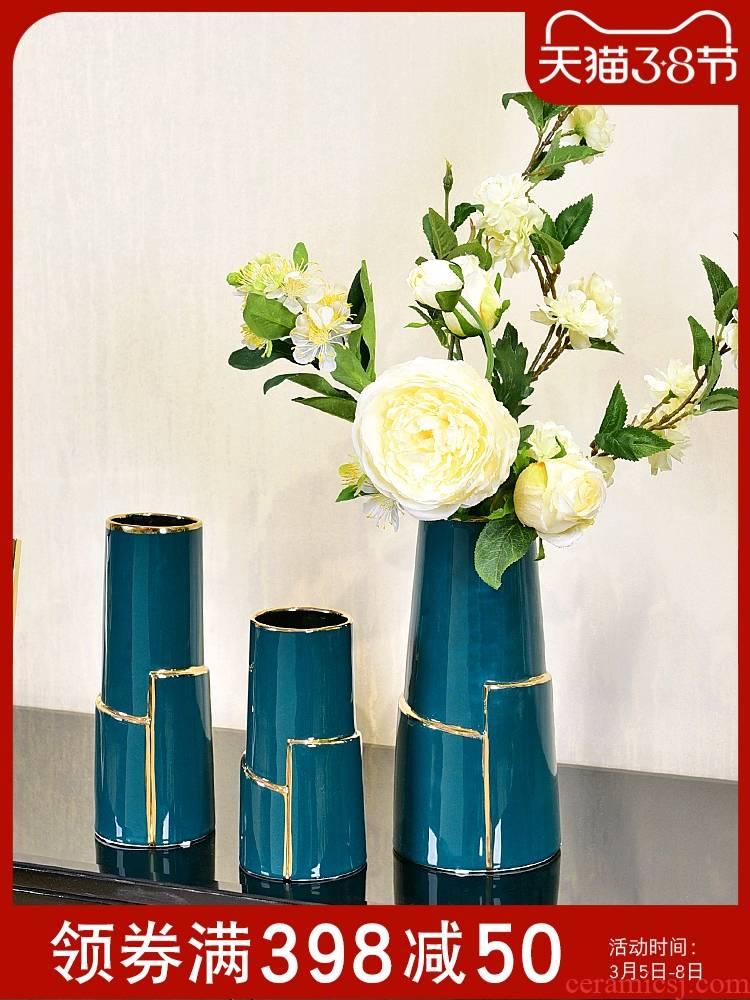 Modern light key-2 luxury ceramic vase hydroponic Jane 's creative living room table simulation flower art flower arranging dried flower adornment furnishing articles