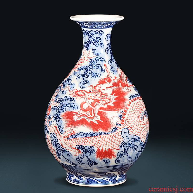 Jingdezhen ceramics hand - made porcelain youligong red dragon grain vases, flower arranging new Chinese style classical decoration furnishing articles