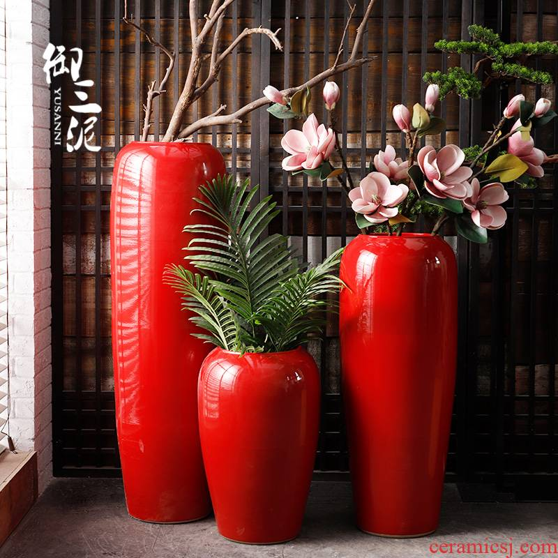 Jingdezhen ceramic floor big vase Chinese festive wedding flower arranging furnishing articles exhibition hall, the opened China red decoration