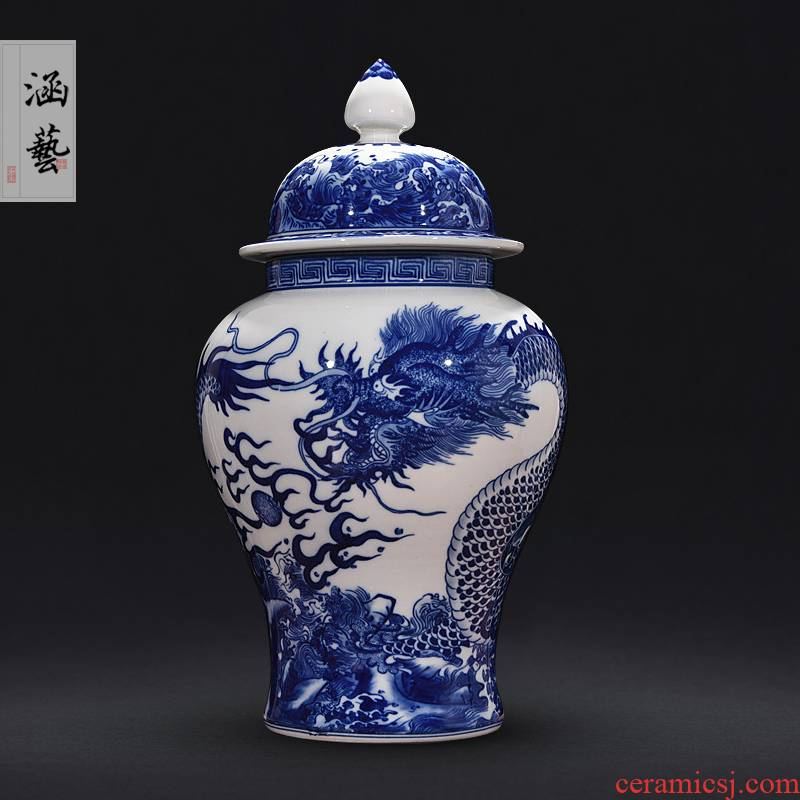Jingdezhen blue and white dragon ceramics vase general tank storage tank handicraft furnishing articles furnishing articles decorations sitting room