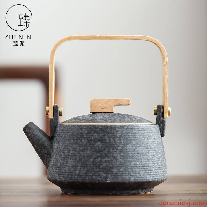 By mud Japanese household ceramics kung fu tea set single girder pot pot of tea, coarse pottery filter large teapot restoring ancient ways