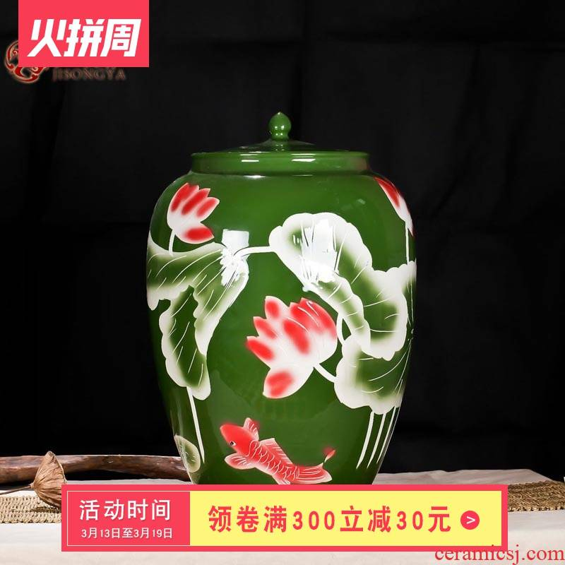Ceramic terms medicated wine bottle ginseng wine bottle dip it 100 catties of carve patterns or designs on woodwork from brewing wine jar jar