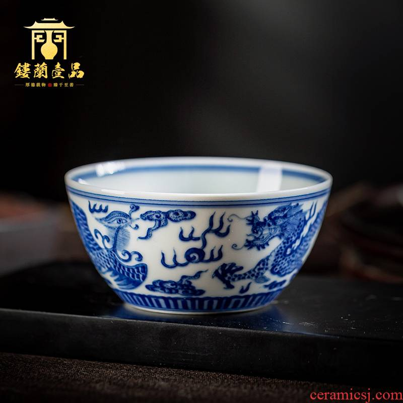 Jingdezhen blue and white maintain all hand - made longfeng ceramic masters cup kung fu tea tea bowl of single cups of tea cups