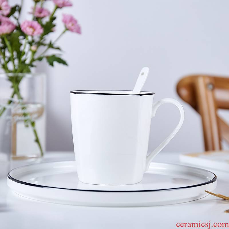 Jingdezhen domestic cup pure white cup black border contracted mugs ceramic cup ipads porcelain coffee cup milk cup