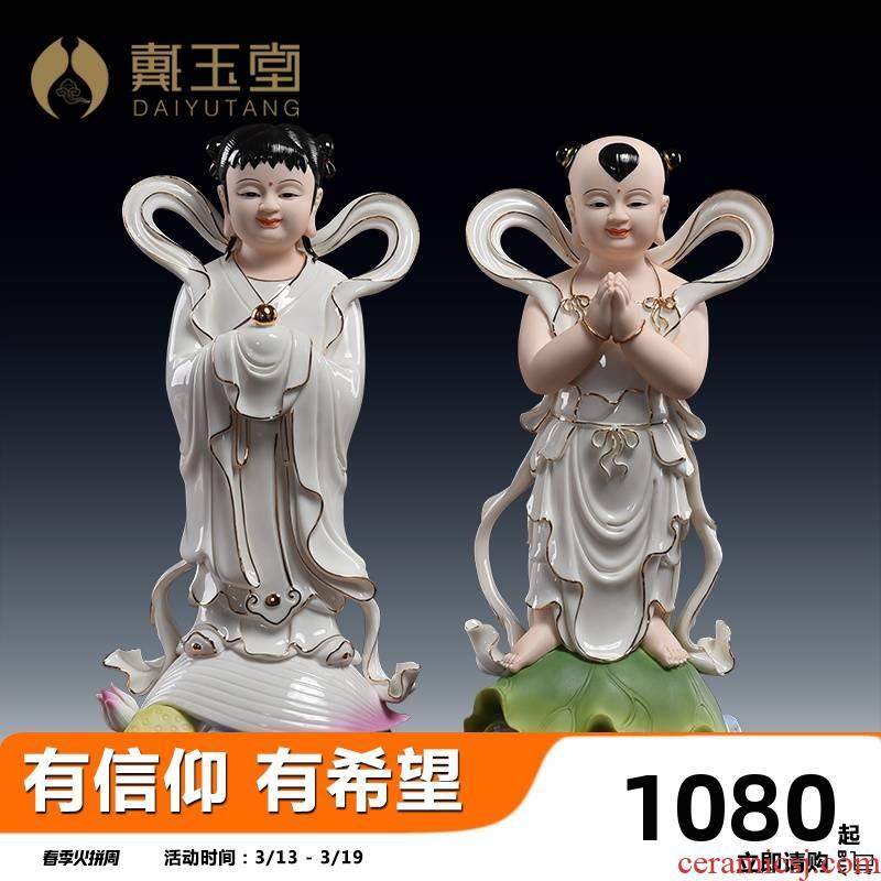 Yutang dai Jennifer, good fortune TongZiLong female ceramic furnishing articles 14 inches paint color to worship Buddha