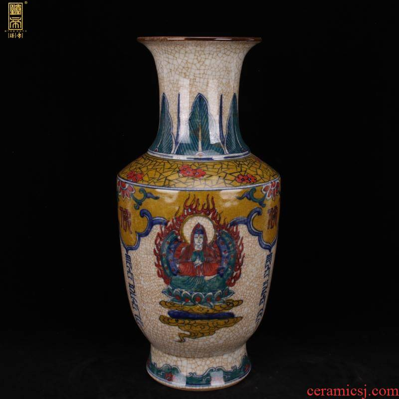 Jingdezhen imitation the qing qianlong year start hand - made colors of Buddha vases, antique reproduction antique old collection furnishing articles
