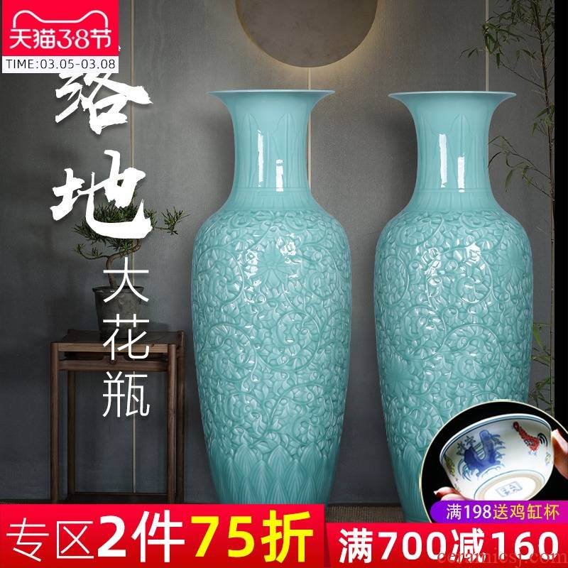 Jingdezhen ceramics of large vase large blue glaze hand - carved Chinese style home sitting room adornment is placed