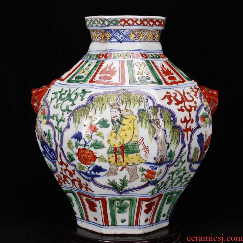 Jingdezhen blue and white antique imitation yuan antique color bucket color character lines the six - party jar of retro decoration old items collection