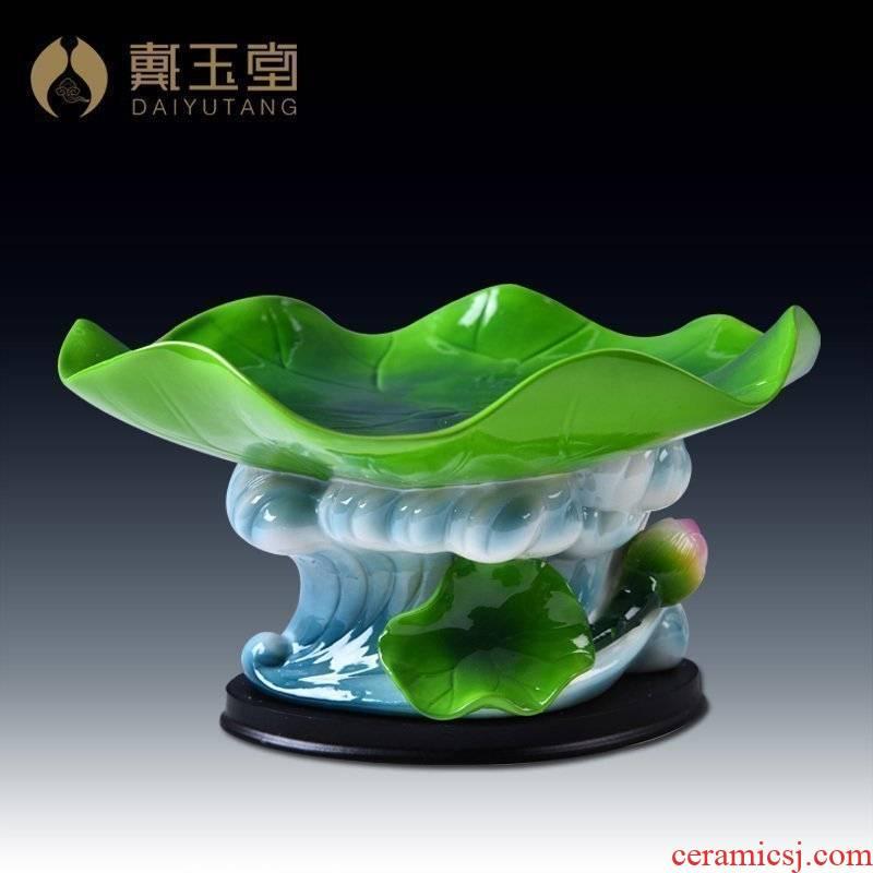Yutang dai modern home desktop sitting room adornment ceramics furnishing articles/7 inch lotus leaf water waves compote D14-41