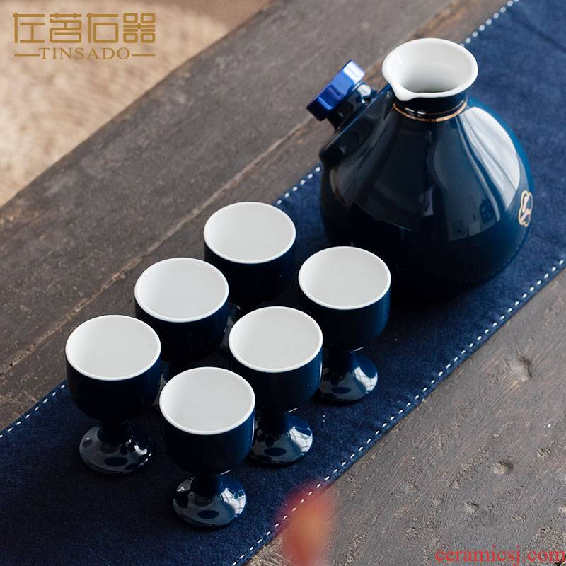 Yellow rice wine wine warm Chinese old Japanese heating temperature ceramics hip flask home outfit wine liquor hot hot hip flask