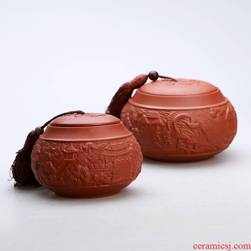 Purple sand pottery and porcelain tea pot seal medium small household storage tank half jins of black tea tea pot tea accessories