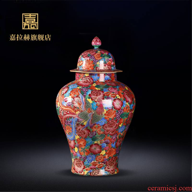 Jia lage jingdezhen ceramics imitation the qing qianlong general wire inlay enamel see colour tank decoration penjing collection vases