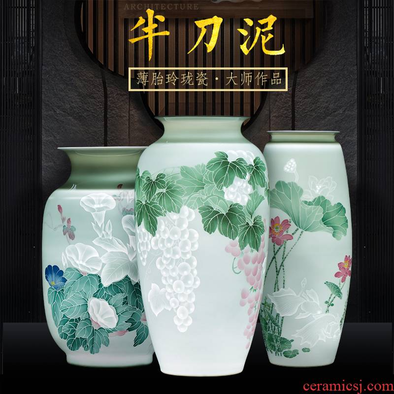Jingdezhen ceramics vase hand - carved hand - made thin knife clay fetal porcelain of modern Chinese style household act the role ofing is tasted