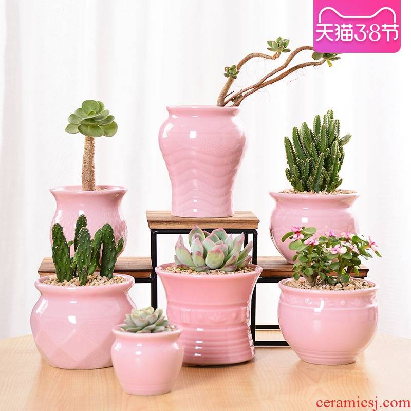 Celadon fleshy flowerpot ceramic wholesale high indoor creative small meat meat plant thumb mage old running the flowerpot