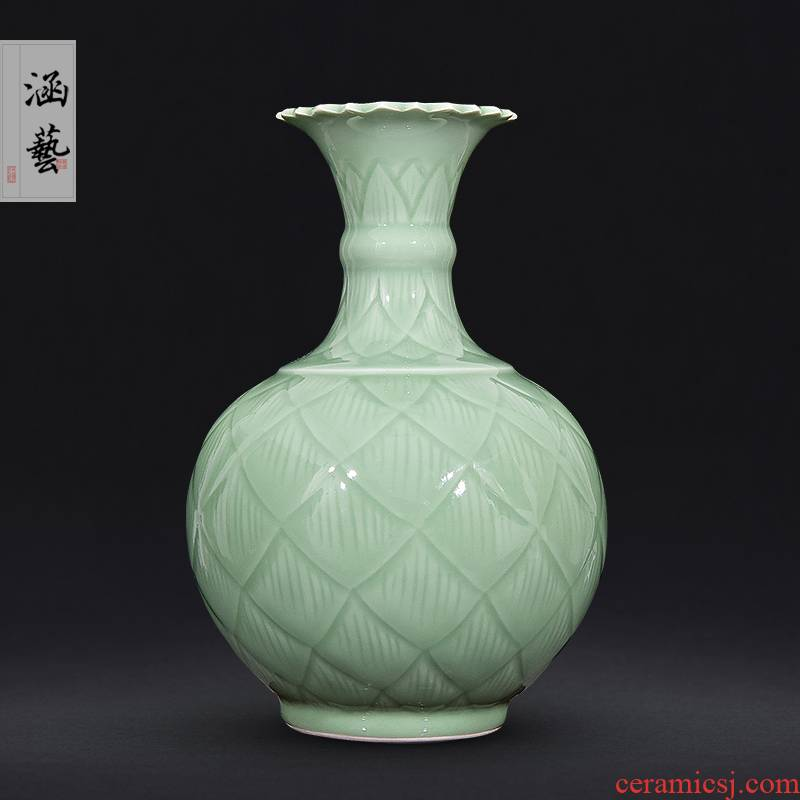 Jingdezhen ceramics shadow blue vase carving flower arrangement sitting room porch home decoration craft gift Chinese style furnishing articles