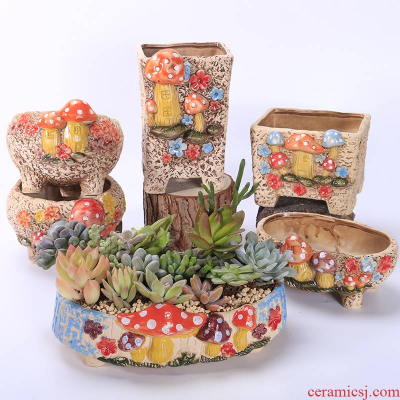 Meaty mushrooms pot move of large diameter ceramic package mail breathable creative large special offer special big platter clearance