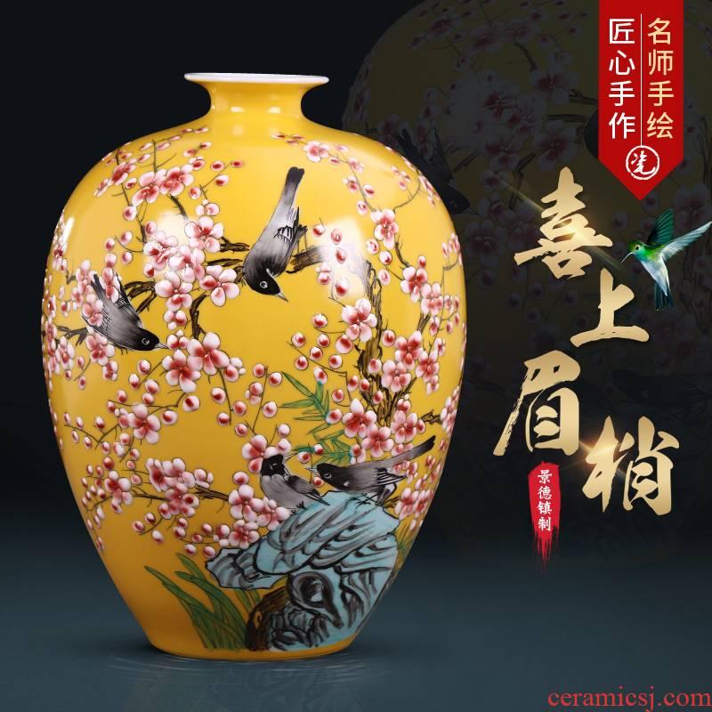 Jingdezhen ceramics hand - made enamel vase flower arranging new Chinese style living room TV ark, home furnishing articles