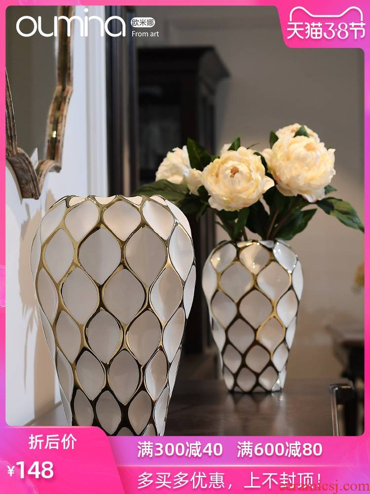 The mina flower implement furnishing articles sitting room light ceramic creative key-2 luxury decoration flower arranging soft adornment household act The role ofing is tasted furnishing articles