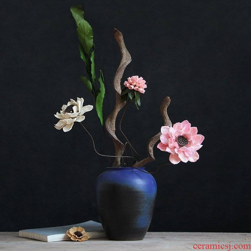 Modern Chinese style thick some ceramic pot dry flower blue floret bottle suit to restore ancient ways do old sitting room adornment is placed the process