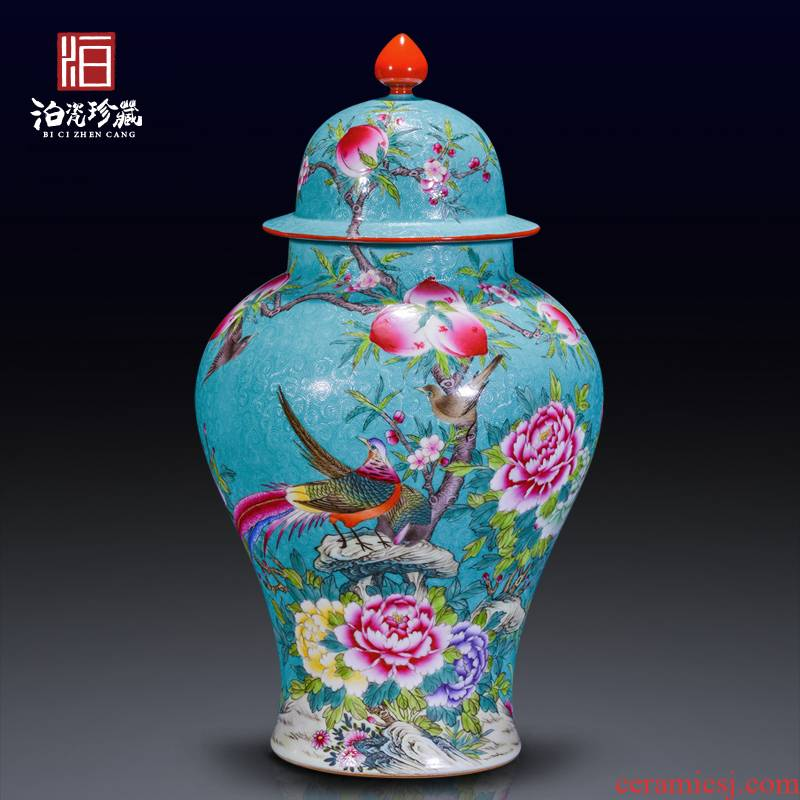 Jingdezhen ceramic hand - made grilled pastel flowers notes tong prosperous general tank Chinese style living room home decoration collection furnishing articles