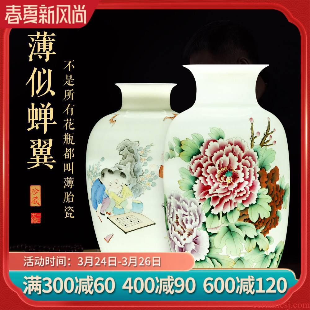 Jingdezhen hand - made ceramic vases, flower arrangement sitting room of Chinese style decoration Chinese wind restoring ancient ways porch home furnishing articles