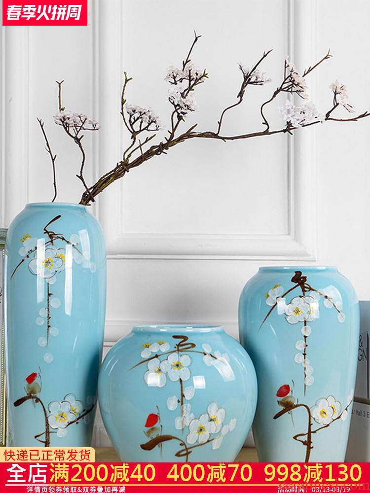 Jingdezhen ceramics, vases, flower arranging furnishing articles of modern Chinese TV ark, three - piece suit the sitting room porch decoration