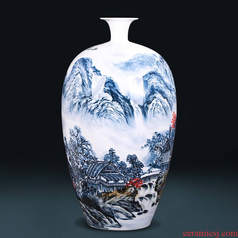 Famous master of jingdezhen ceramics hand - made scenery antique Chinese blue and white porcelain vase sitting room adornment is placed