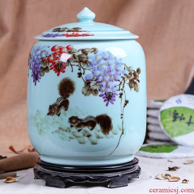 Jingdezhen ceramic caddy fixings to heavy manual tea urn pu 'er 8 jin receives moistureproof tea tea set large barrel