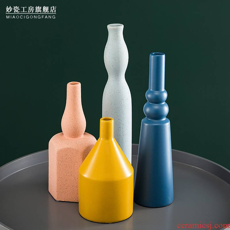 Morandi color Nordic flower arranging, ceramic vases, furnishing articles dried flowers home sitting room TV cabinet decorative flower between example