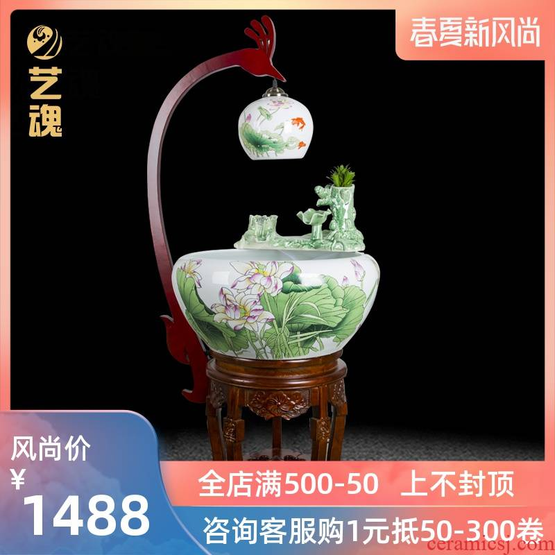 Jingdezhen ceramic household goldfish bowl loop filter - oxygen atomization water goldfish bowl sitting room lucky ritual and furnishing articles