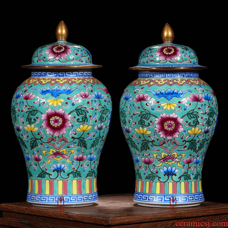 Jingdezhen ceramics archaize the qing qianlong general colored enamel paint pot vase Chinese crafts are sitting room